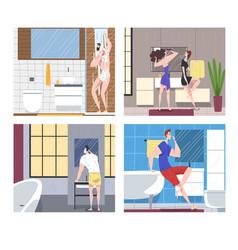 Hygiene procedures in bathroom set people vector
