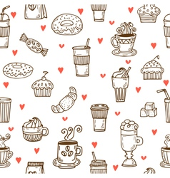 i love coffee hand drawn seamless pattern vector image