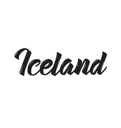 Iceland text design calligraphy vector