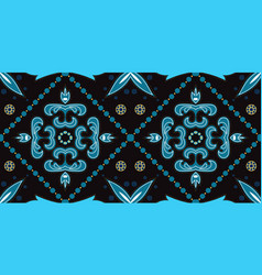 Indigo geometric victorian ornament vector