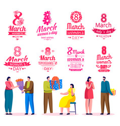 International womens day holiday men with gifts vector