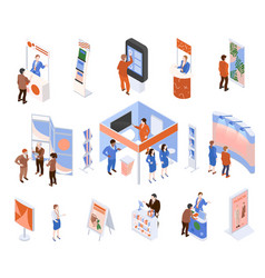 Isometric exhibition set vector