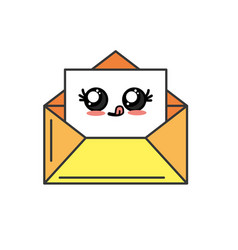 kawaii cute funny e-mail message vector image