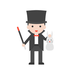 magician holding wand and rabbit set profession vector image
