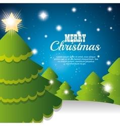 merry christmas card tree and snowflake vector image