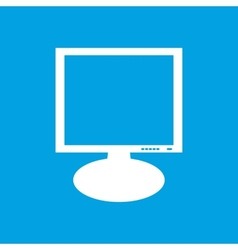 Monitor white icon vector image