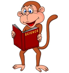 Monkey cartoon reading book vector