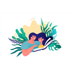 mother and little girl reading book isolated vector image