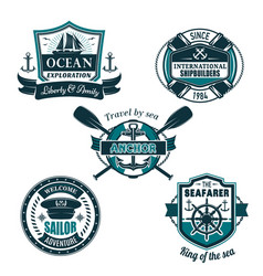 Nautical heraldic icons of seafarer sailing vector
