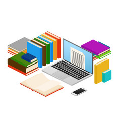 Online education web e-book shop library vector
