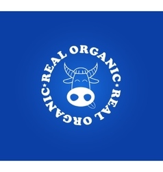 Organic milk symbol with fun cow face vector