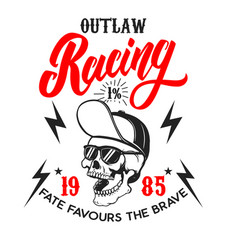 Outlaw racing poster template with skull design vector
