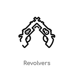 Outline revolvers icon isolated black simple line vector