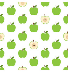 Pattern with green apples vector