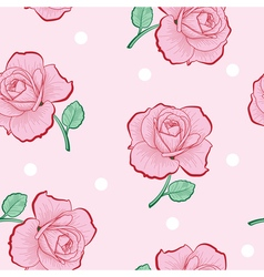 Pink roses and white dots on pink seamless vector image