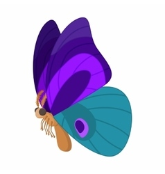Purple-blue butterfly icon cartoon style vector