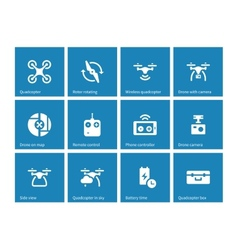 Quadrocopter icons on blue background vector