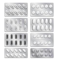 Realistic 3d drugs packaging painkiller pills vector