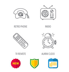 Retro phone radio and tv remote icons vector