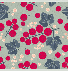 ripe red currant seamless pattern leaves flowers s vector image