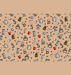 seamless pattern coffee brewer vector image