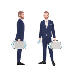 Set of bearded man dressed in smart suit holding vector