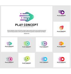 set of fast play logo design concept play tech vector image