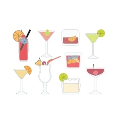 Set of Isolated Cocktails vector image