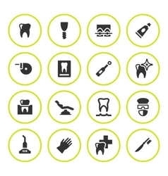 Set round icons of dental vector image