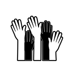 set several arms hands gesture on monochrome vector image