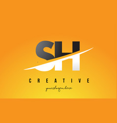 sh s h letter modern logo design with yellow vector image