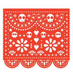 Skulls papel picado design mexican pattern vector