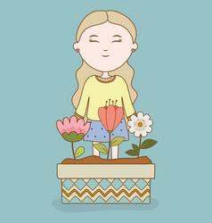smiling girl flowers in pot garden cartoon vector image