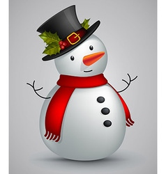 snowman in red scarf vector image