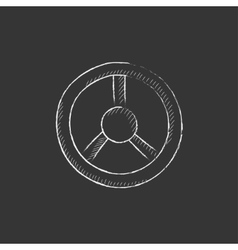 Steering wheel drawn in chalk icon vector