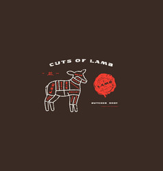 stock lamb cuts diagram in thin line style vector image
