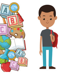 Student boy backpack element school poster vector