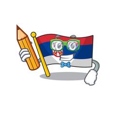 Student serbia flag flown on cartoon pole vector