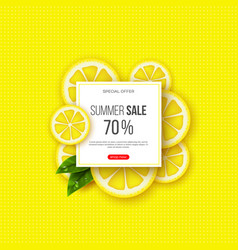 summer sale banner with sliced lemon pieces vector image