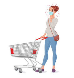 Thoughtful young woman in mask with shopping cart vector
