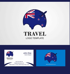 Travel new zealand flag logo and visiting card vector