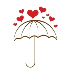 umbrella hearts rain icon vector image