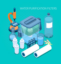 water purification filters isometric composition vector image