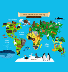 World map animals europe and asia south and vector
