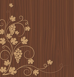 grapes on a wooden background vector image