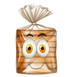 Happy face on bread vector image vector image