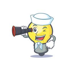 sailor light bulb character cartoon with binocular vector image