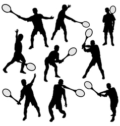 Tennis silhouette set eps10 vector image vector image