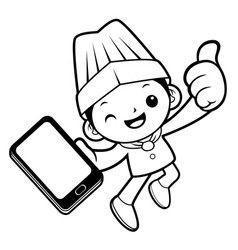 black and white chef mascot is holding a vector image vector image