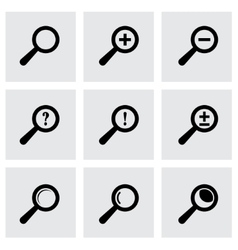 black magnifier glass icons set vector image